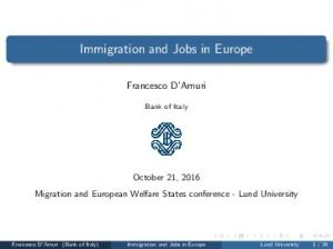 Immigration and Jobs in Europe