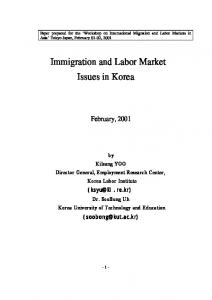 Immigration and Labor Market Issues in Korea