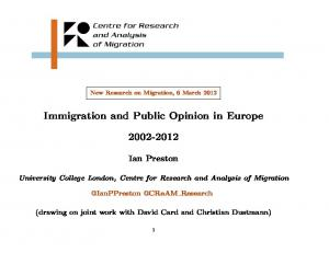 Immigration and Public Opinion in Europe