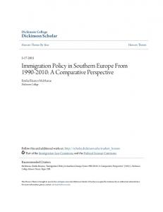 Immigration Policy in Southern Europe From : A Comparative Perspective