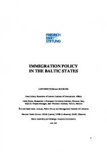 IMMIGRATION POLICY IN THE BALTIC STATES