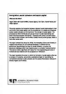 Immigration, social cohesion and social capital