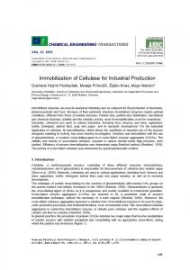 Immobilization of Cellulase for Industrial Production