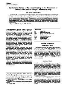 Immune-mediated hemolytic anemia (IMHA) is
