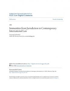 Immunities from Jurisdiction in Contemporary International Law