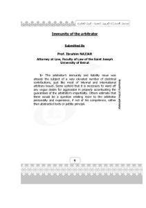 Immunity of the arbitrator
