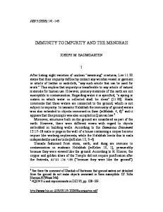 IMMUNITY TO IMPURITY AND THE MENORAH