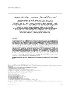 Immunization consensus for children and adolescents with rheumatic diseases
