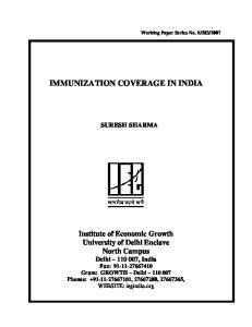 IMMUNIZATION COVERAGE IN INDIA