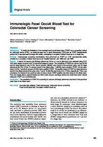 Immunologic Fecal Occult Blood Test for Colorectal Cancer Screening