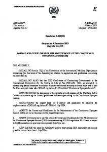 IMO. Resolution A.959(23) Adopted on 5 December 2003 (Agenda item 17)