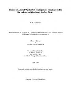 Impact of Animal Waste Best Management Practices on the Bacteriological Quality of Surface Water
