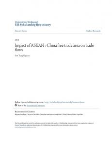 Impact of ASEAN : China free trade area on trade flows