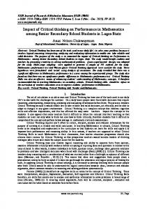 Impact of Critical thinking on Performance in Mathematics among Senior Secondary School Students in Lagos State