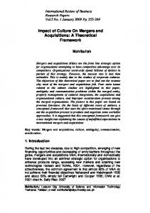 Impact of Culture On Mergers and Acquisitions: A Theoretical Framework
