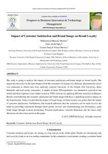 Impact of Customer Satisfaction and Brand Image on Brand Loyalty