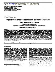 Impact of divorce on adolescent students in Ghana