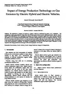 Impact of Energy Production Technology on Gas Emission by Electric Hybrid and Electric Vehicles