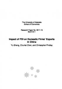 Impact of FDI on Domestic Firms Exports in China