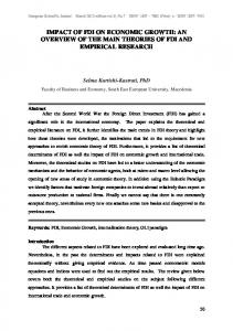 IMPACT OF FDI ON ECONOMIC GROWTH: AN OVERVIEW OF THE MAIN THEORIES OF FDI AND EMPIRICAL RESEARCH