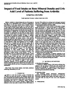 Impact of Food Intake on Bone Mineral Density and Uric Acid Level of Patients Suffering from Arthritis