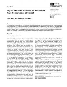 Impact of Fruit Smoothies on Adolescent Fruit Consumption at School