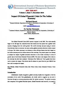 Impact Of Global Financial Crisis On The Indian Economy