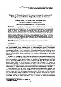 Impact of Globalization on Entrepreneurship Education and Entrepreneurial Skills in Higher Education Institutions