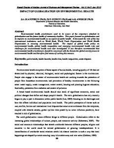 IMPACT OF GLOBALIZATION ON ENVIRONMENTAL HEALTH