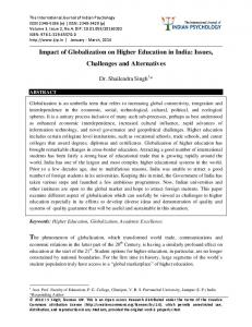 Impact of Globalization on Higher Education in India: Issues, Challenges and Alternatives
