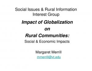 Impact of Globalization on Rural Communities: