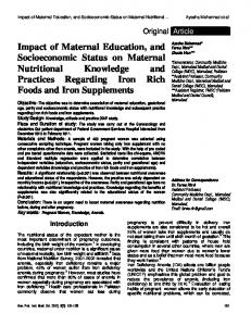 Impact of Maternal Education, and Socioeconomic Status on Maternal Nutritional