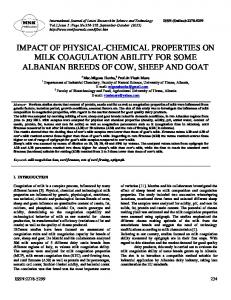 IMPACT OF PHYSICAL-CHEMICAL PROPERTIES ON MILK COAGULATION ABILITY FOR SOME ALBANIAN BREEDS OF COW, SHEEP AND GOAT