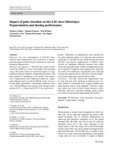 Impact of pulse duration on Ho:YAG laser lithotripsy: fragmentation and dusting performance
