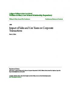 Impact of Sales and Use Taxes on Corporate Transactions