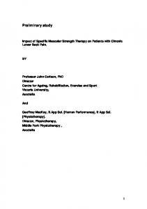 Impact of Specific Muscular Strength Therapy on Patients with Chronic Lower Back Pain