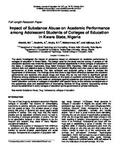Impact of Substance Abuse on Academic Performance among Adolescent Students of Colleges of Education in Kwara State, Nigeria