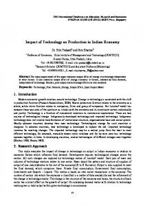 Impact of Technology on Production in Indian Economy