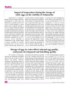 Impact of temperature during the storage of table eggs on the viability of Salmonella