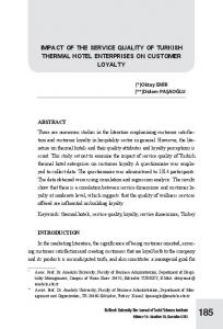 IMPACT OF THE SERVICE QUALITY OF TURKISH THERMAL HOTEL ENTERPRISES ON CUSTOMER LOYALTY
