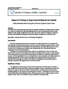 Impact of Training on Improving Hotelling Service Quality