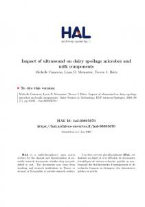 Impact of ultrasound on dairy spoilage microbes and milk components