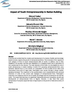 Impact of Youth Entrepreneurship in Nation Building