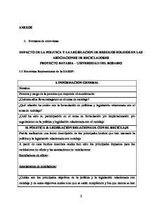 IMPACTO DE LA POLITICA Y LA LEGISLACION DE RESIDUOS SOLIDOS EN LAS ASOCIACIONES DE RECICLADORES PROYECTO BAVARIA UNIVERSIDAD DEL ROSARIO