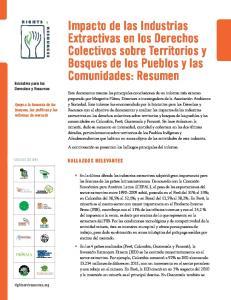 Impacto de las Industrias Extractivas en los Derechos Colectivos sobre Territorios y Bosques de los Pueblos y las Comunidades: Resumen