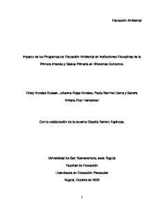 Impacto de los Programas de Educación Ambiental en Instituciones Educativas de la. Primera Infancia y Básica Primaria en Diferentes Contextos