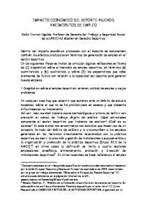IMPACTO ECONOMICO DEL DEPORTE: NUEVOS YACIMIENTOS DE EMPLEO