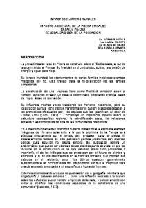 IMPACTOS EN AREAS RURALES IMPACTO AMBIENTAL DE LA PRESA EMBALSE CASA DE PIEDRA RELOCALIZACIOON DE LA POBLACION