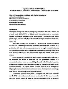 Impactos sociales de PACMYC Jalisco: El caso del proyecto La cultura de los pescadores en Chapala, Jalisco