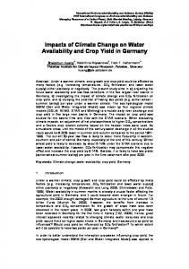 Impacts of Climate Change on Water Availability and Crop Yield in Germany